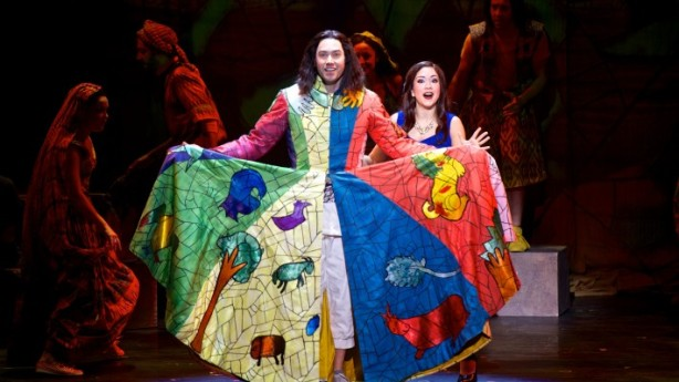 Ace Young as Joseph and Diana DeGarmo as Narrator. Joseph and the Amazing Technicolor Dreamcoat National Tour 2014. Photography by Daniel A. Swalec